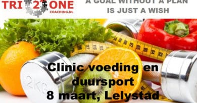 "Nieuwe clinic Tri2one Coaching; ""Voeding en duursport""."